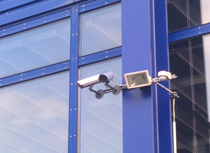 Kameraattrappen an der Mensa Rempartstraße
