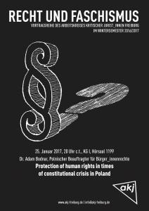 Plakat zum Vortrag von Dr. Adam Bodnar