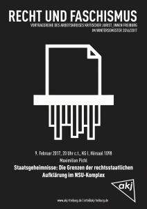 Plakat zum Vortrag von Maximilian Pichl